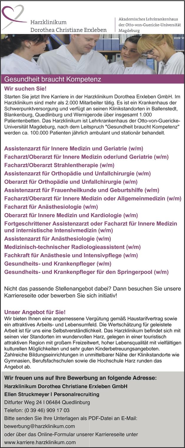 orthopdiechirurgin in quedlinburg bei harzklinikum dorothea erxleben gmbh 105426997 - Ca Bewerbung