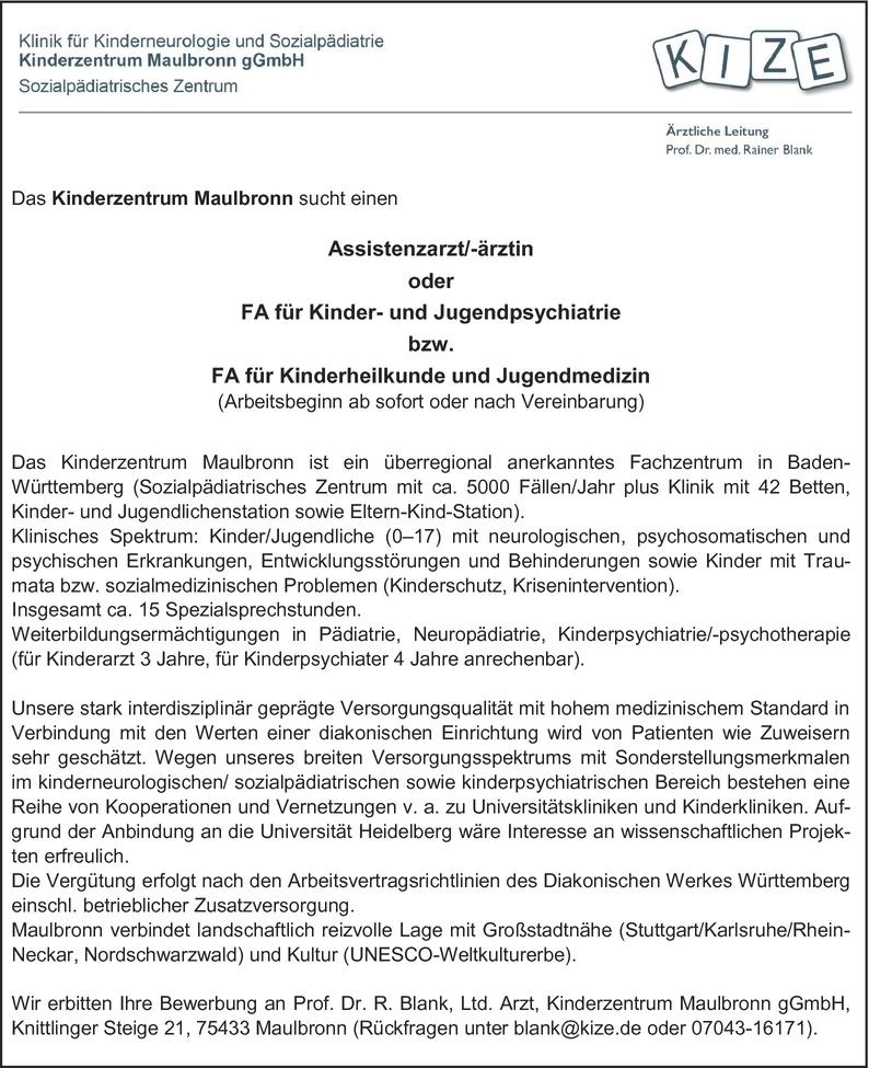 Assistenzarzt/-ärztin Kinder-/Jugendpsychiatrie und -psychologie