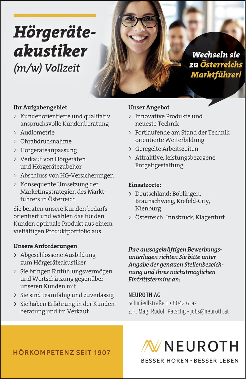 Hörgeräteakustiker (m/w)