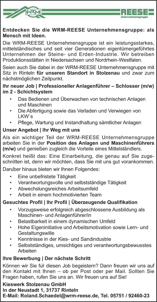 Maschinen- und Anlagenführer/in