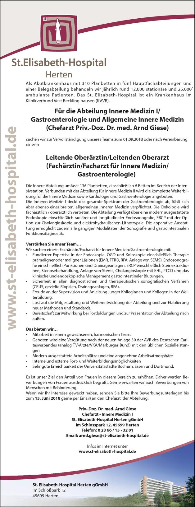 Facharzt/-ärztin Innere Medizin und Gastroenterologie