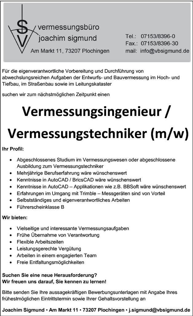 Vermessungsingenieur/in