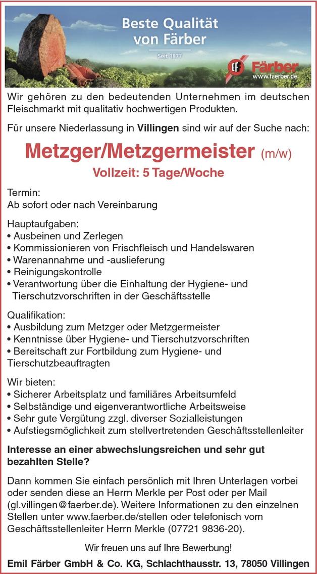 Metzgermeister/in