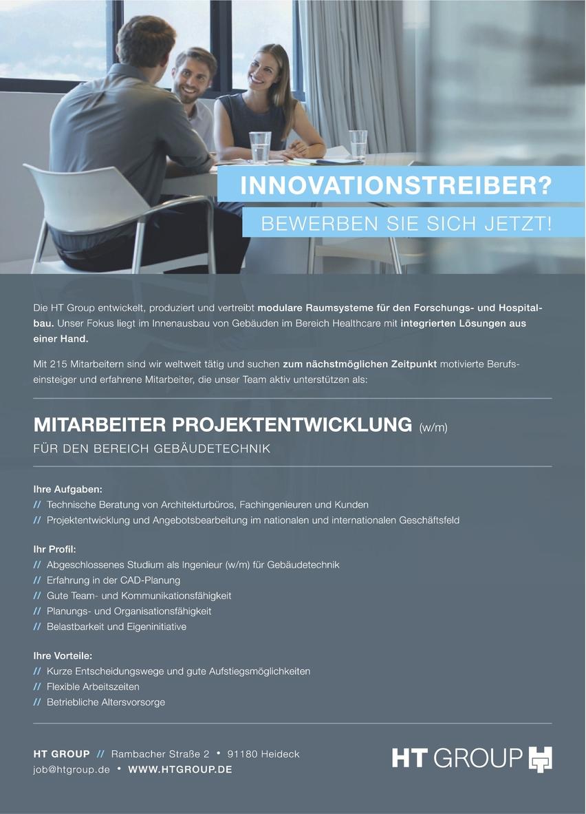 Mitarbeiter Projektentwicklung (m/w) Bereich Gebäudetechnik