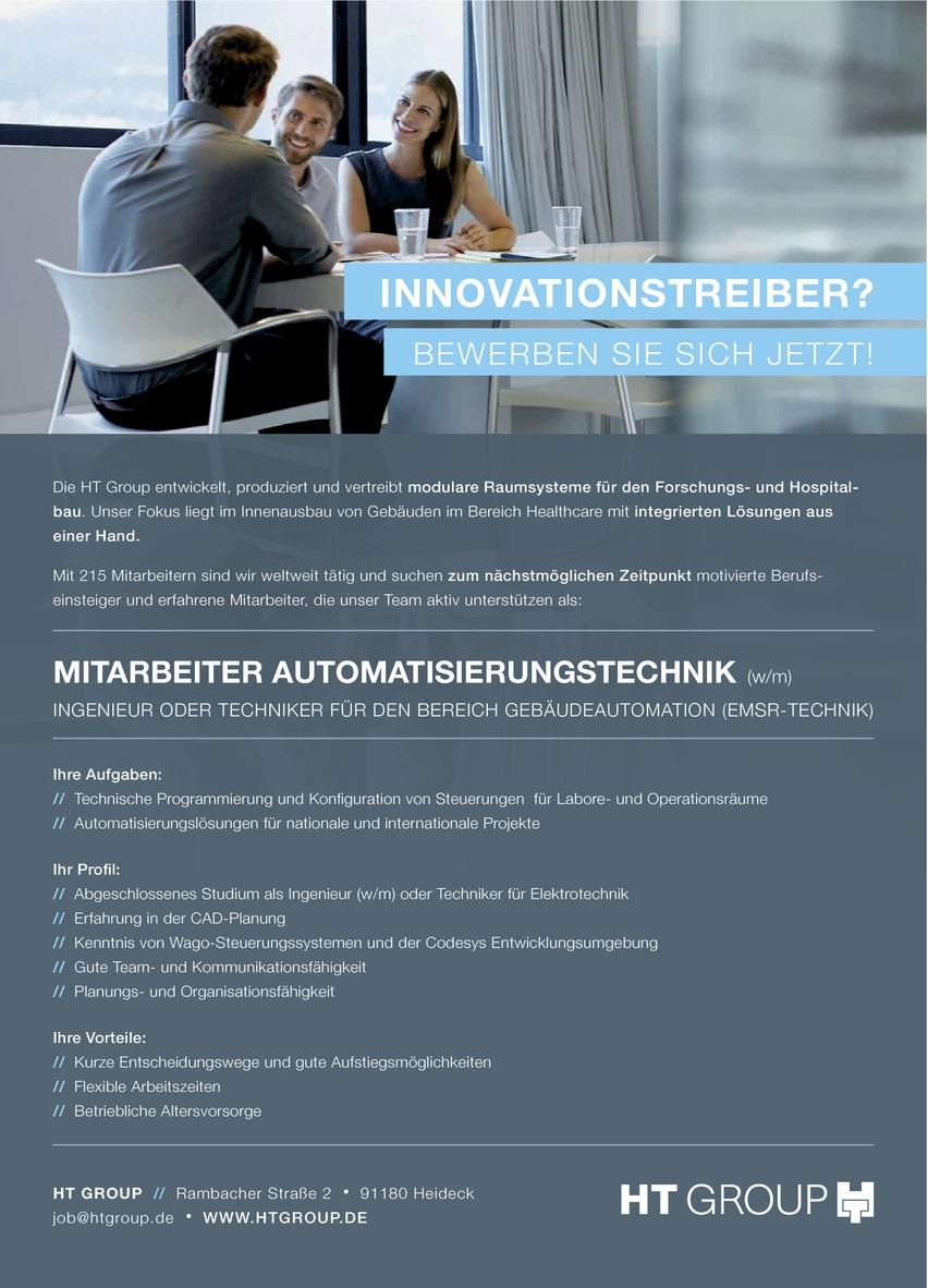Mitarbeiter Automatisierungstechnik (m/w) Bereich Gebäudeautomation