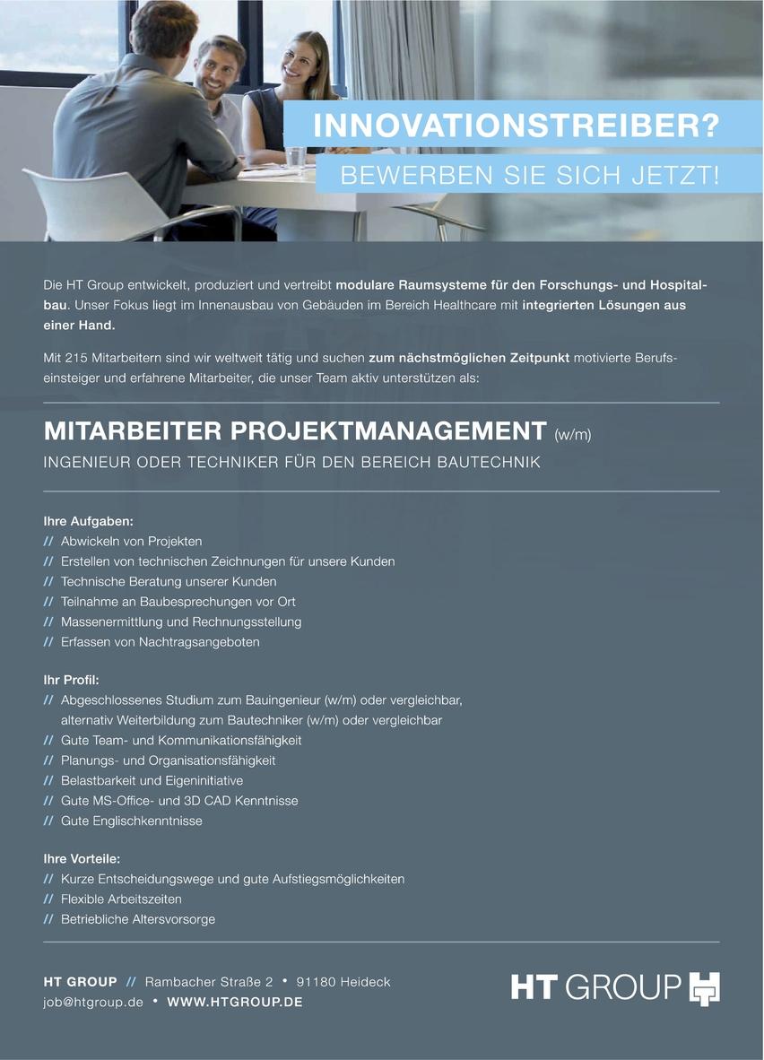 Mitarbeiter Projektmanagement (m/w) Bereich Bautechnik