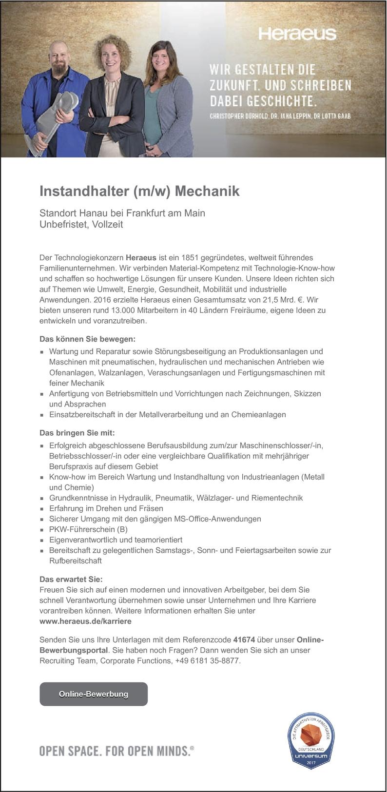 Maschinenschlosser/in