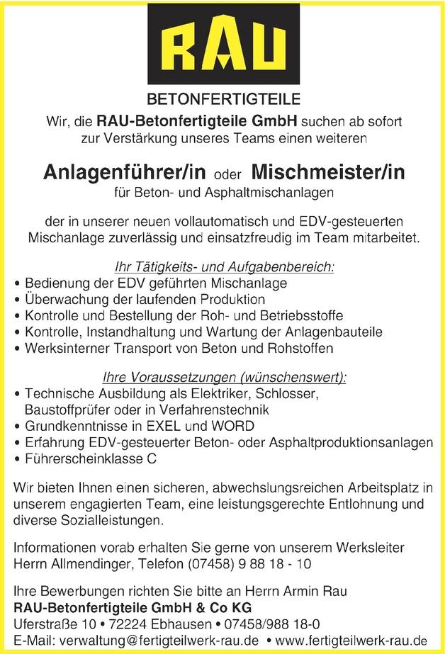Anlagenführer/in Betonindustrie in Ebhausen