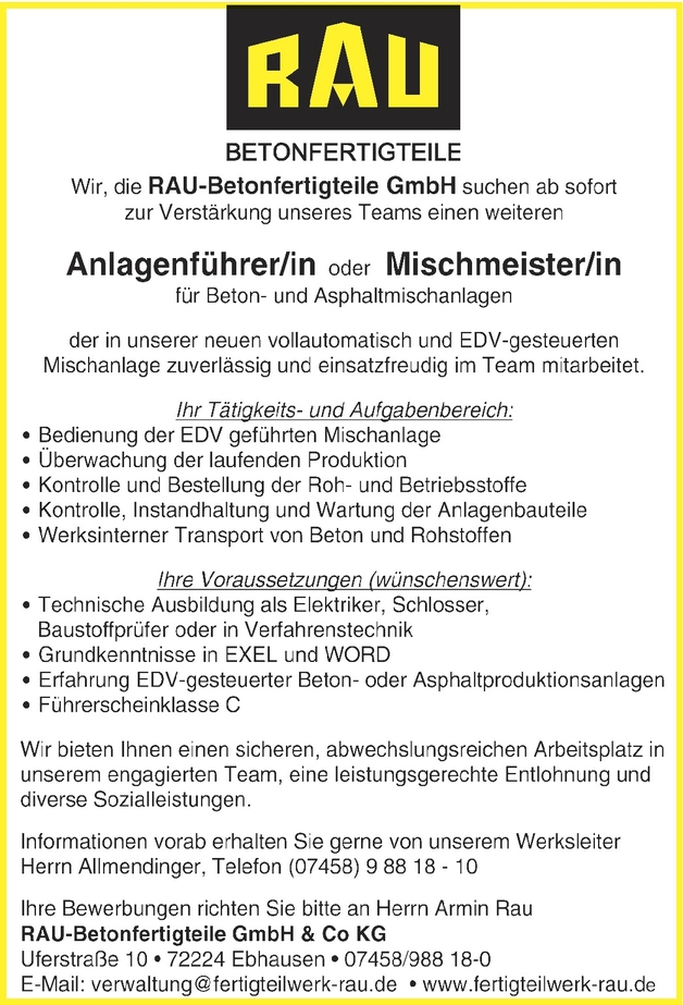Betonmischanlagenführer/in