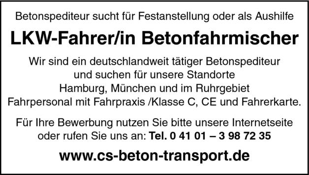 LKW Fahrer Betonfahrmischer (m/w)