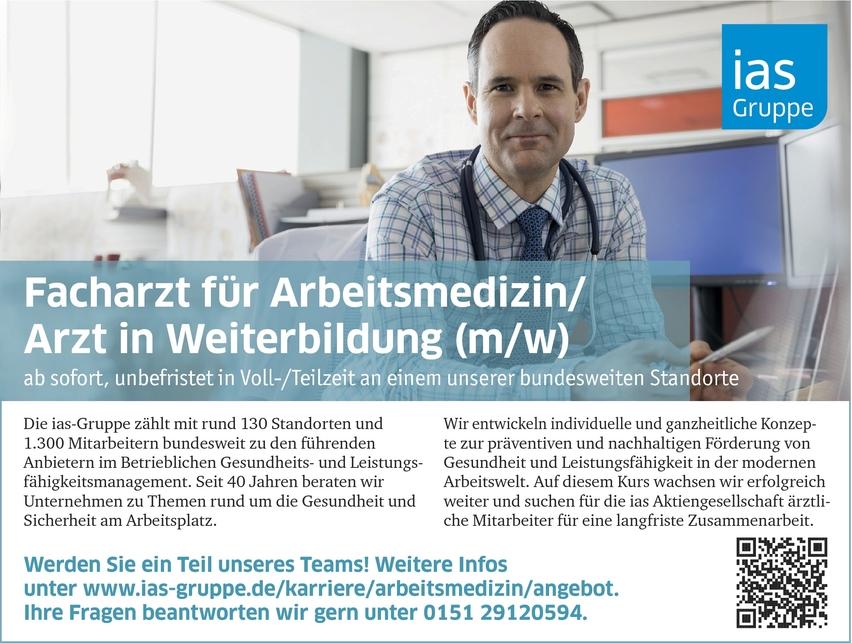 Facharzt/-ärztin Arbeitsmedizin