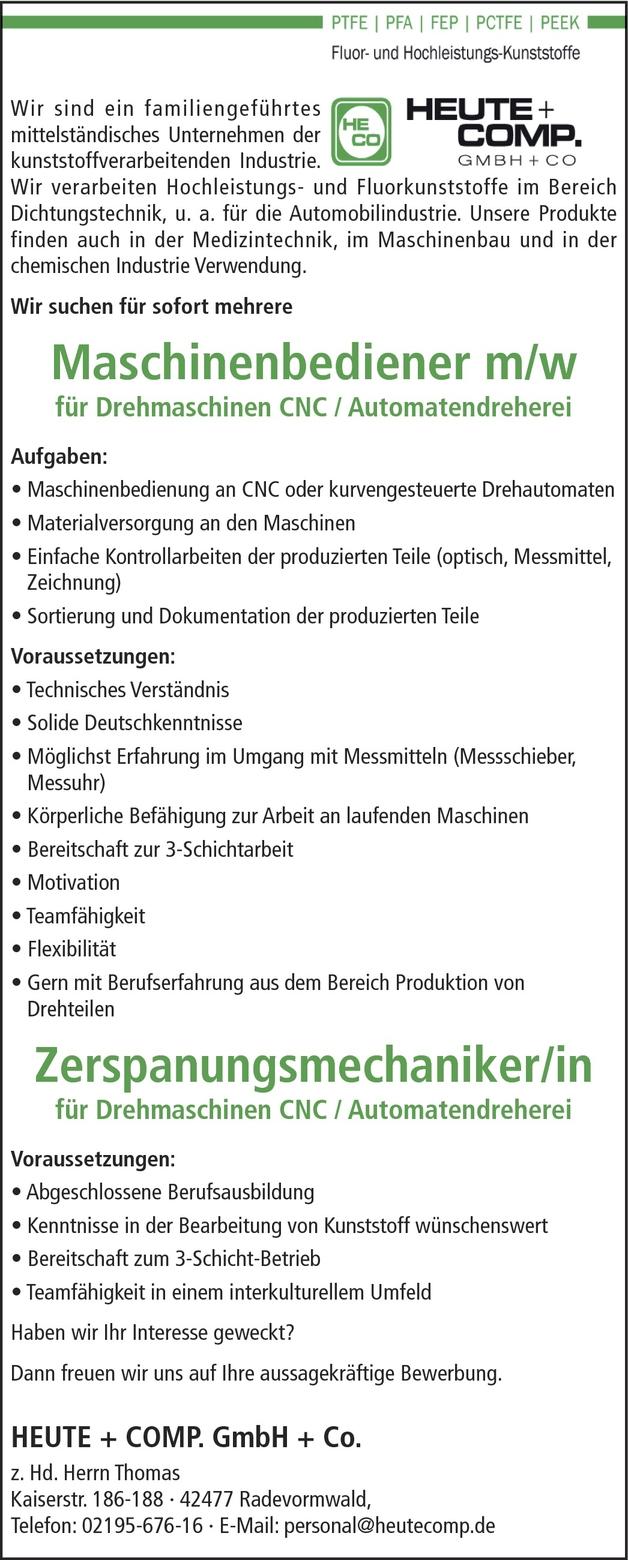 Maschinenbediener/in