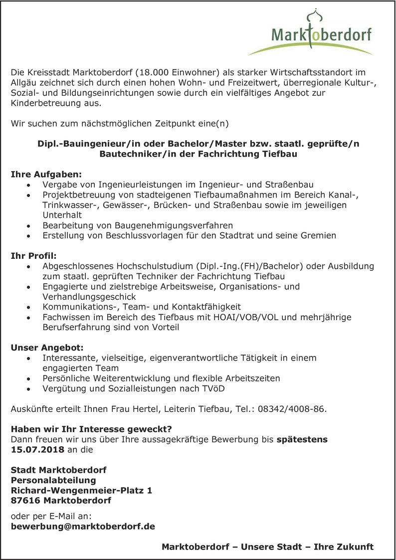 Bauingenieur/in Tiefbau