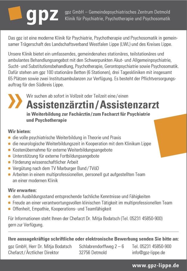Assistenzarzt/-ärztin Psychiatrie und Psychotherapie
