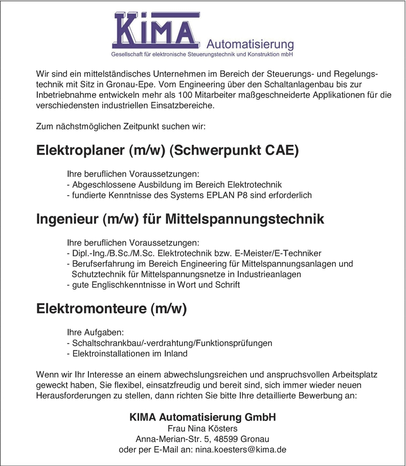 Ingenieur/in Elektrotechnik (Elektronik)