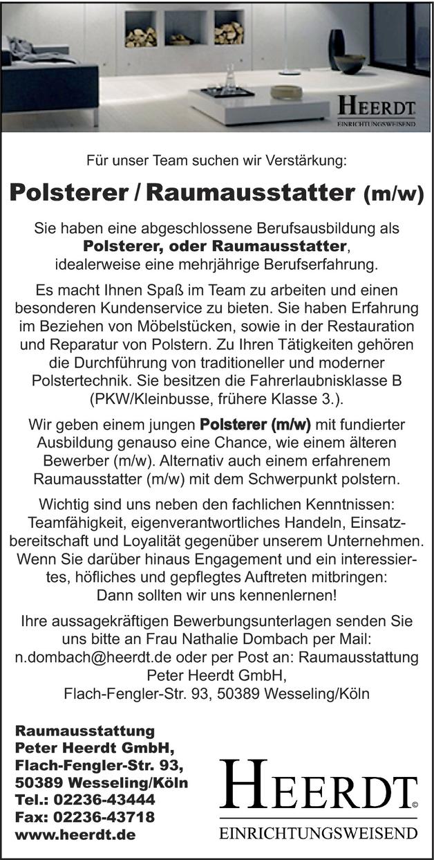 Polsterer/in und Raumausstatter/in