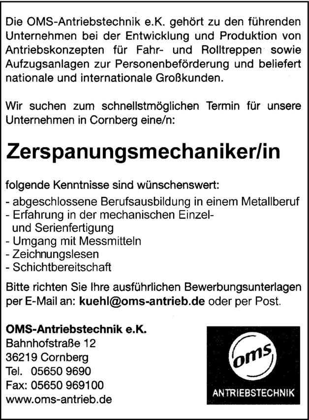 Zerspanungsmechaniker/in in Cornberg