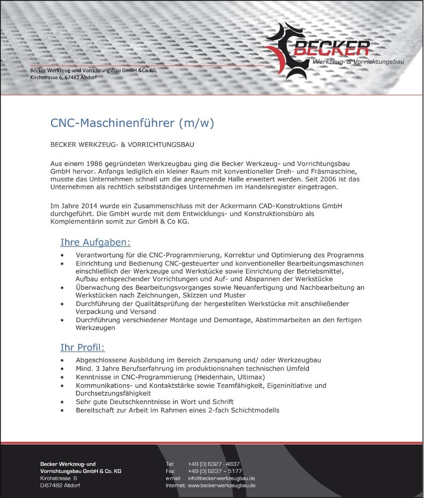 cnc maschinenbedienerin in bei 110052013 - Bewerbung Als Maschinenfhrer