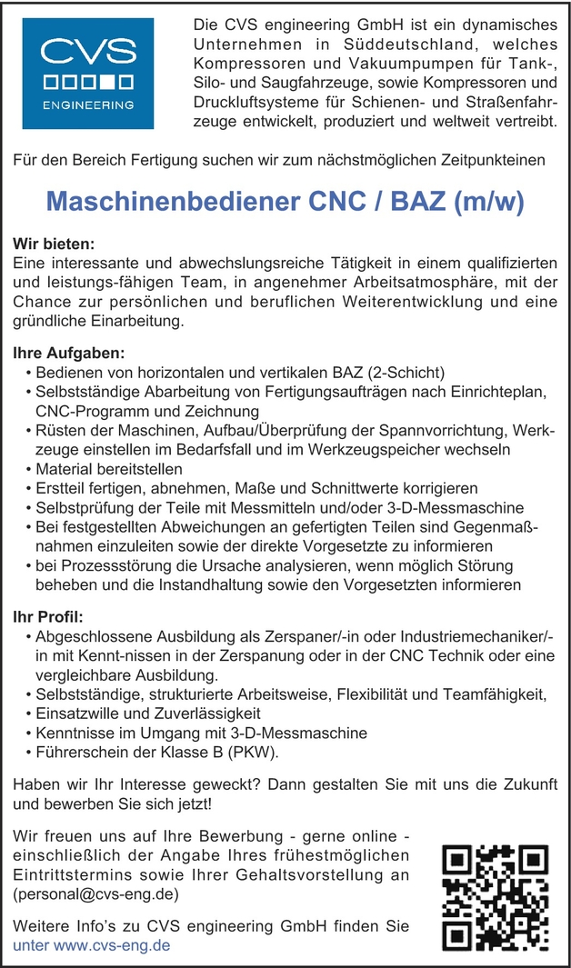 Zerspanungsmechaniker/in