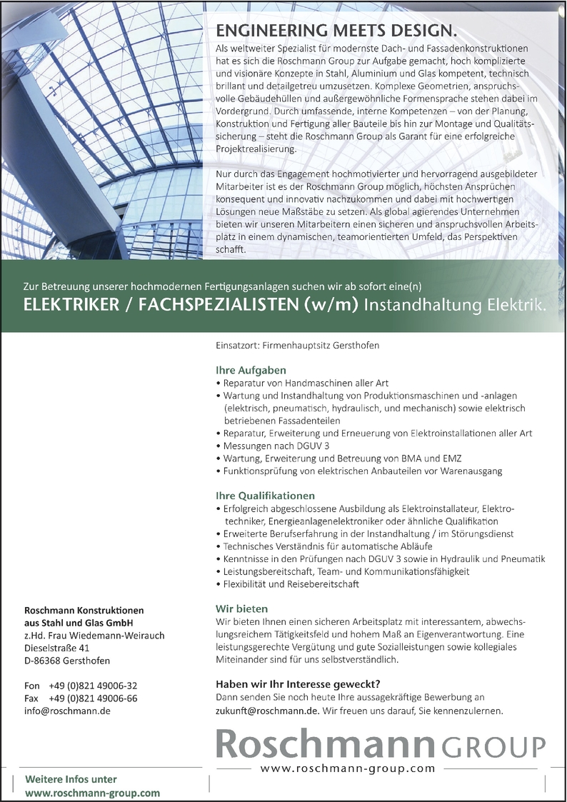 Elektroinstallateur/in in Gersthofen bei Roschmann Konstruktionen aus Stahl  und Glas GmbH (110679729)