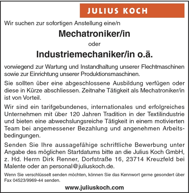 Mechaniker/in Betriebstechnik