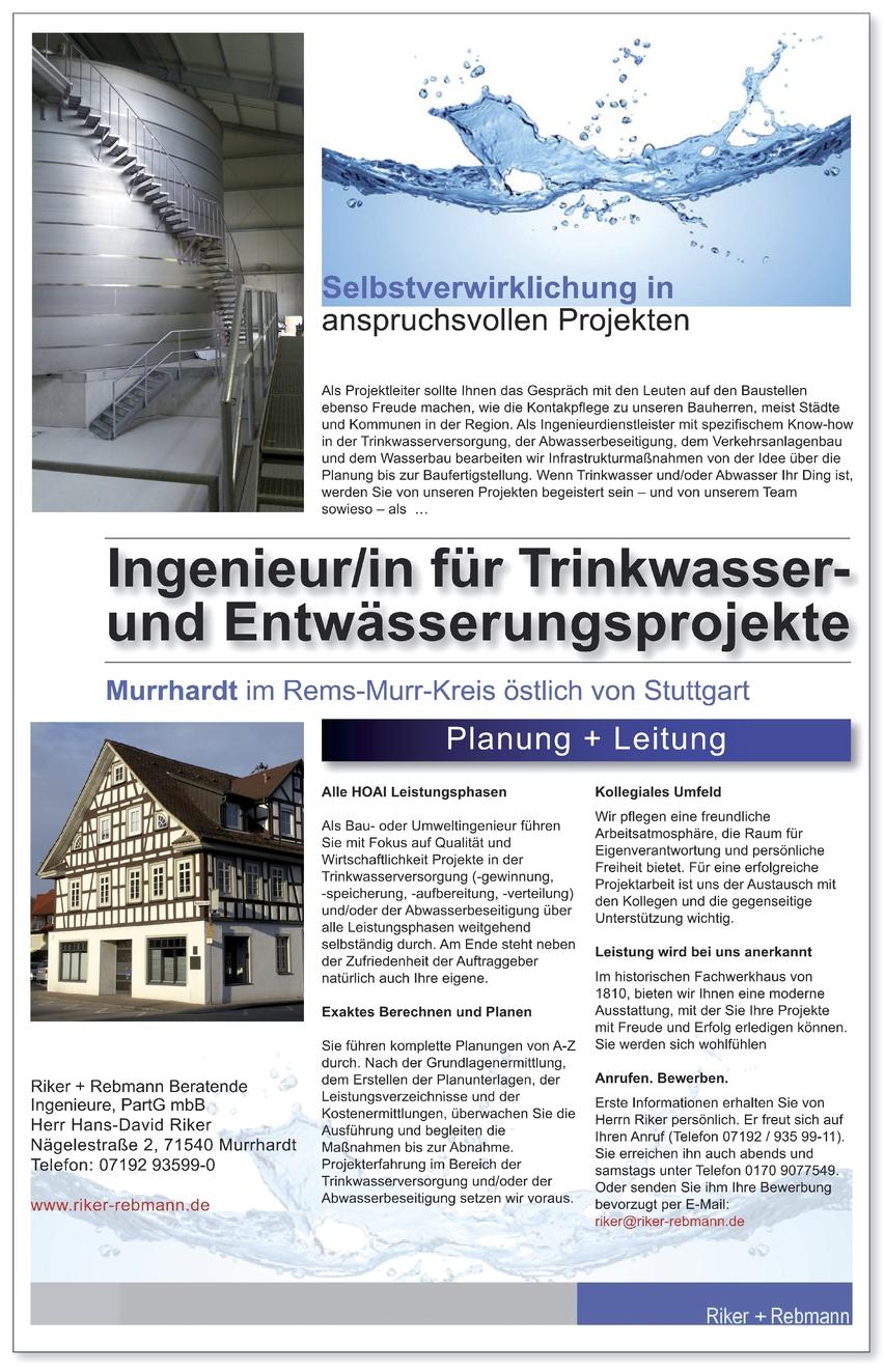 Ingenieur/in für Trinkwasser- und Entwässerungsprojekte