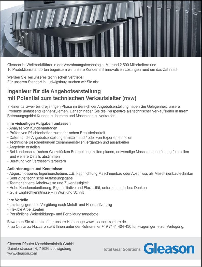 Ingenieur/in Maschinenbau (allgemeiner Maschinenbau)