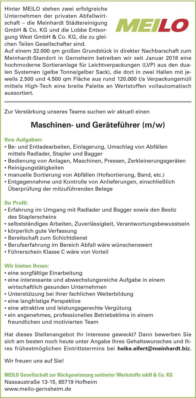 maschinenfhrerin in hofheim bei 113000874 - Bewerbung Als Maschinenfhrer
