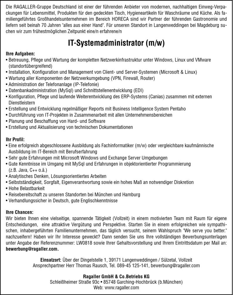 IT-Administrator m/w in Sülzetal