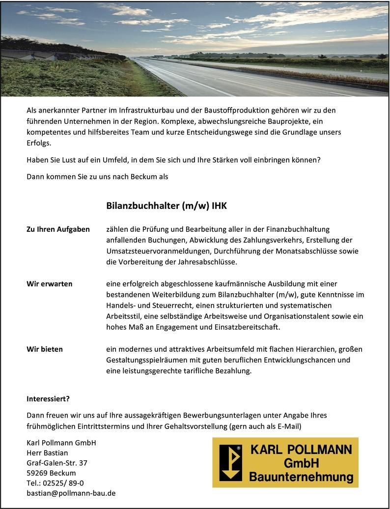 Bilanzbuchhalter/in in Beckum bei Karl Pollmann Bauunternehmung (114878187)
