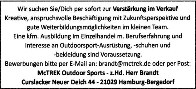 c9b82cefc76303 Verkaufsberater in in Hamburg-Bergedorf