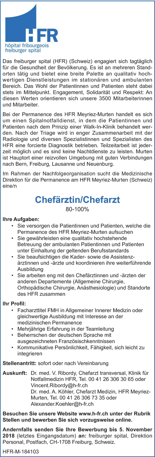 Facharzt/-ärztin Innere Medizin
