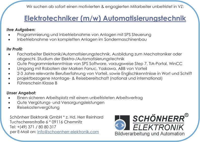 Elektrotechnikerin Automatisierungstechnik In Chemnitz