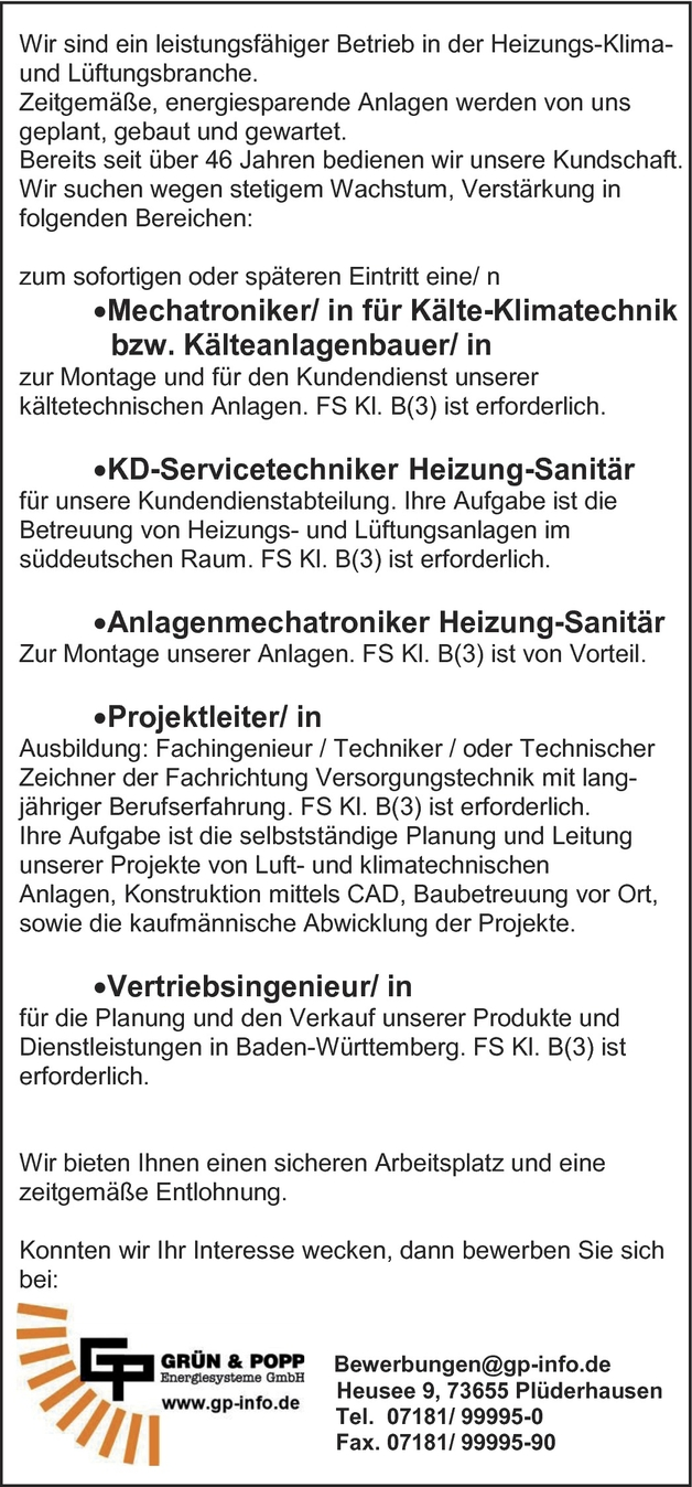 Anlagenmechanikerin In Plüderhausen
