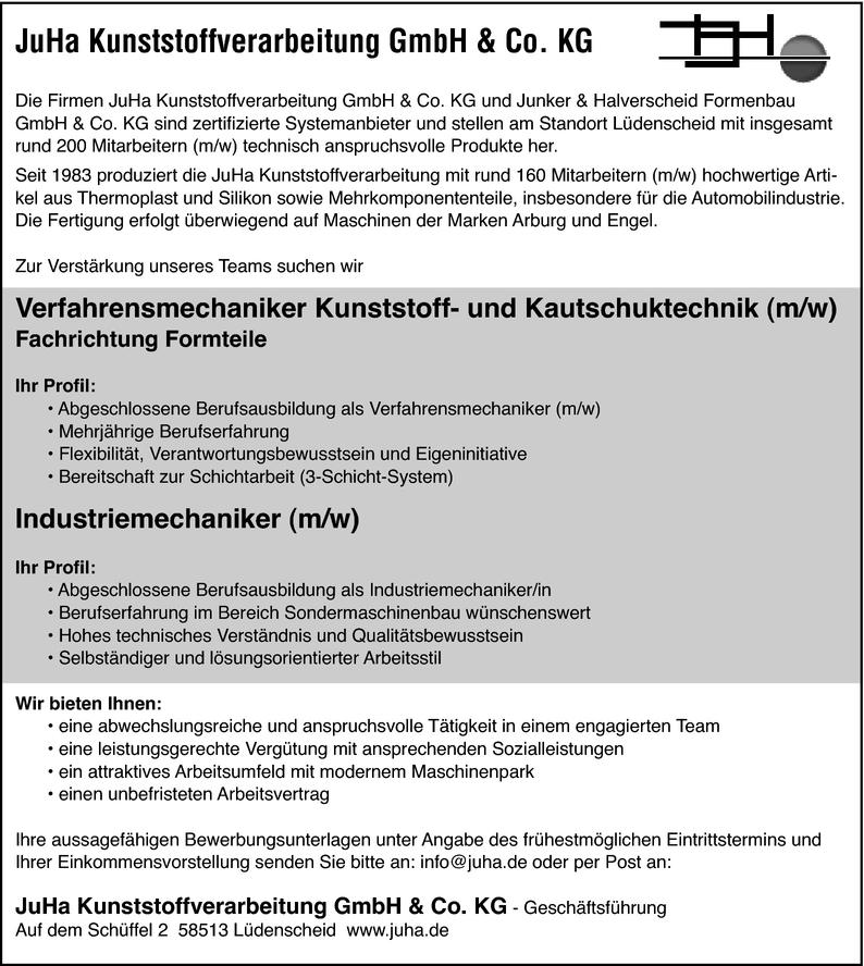 Verfahrensmechaniker/in Kunststoff- und Kautschuktechnik