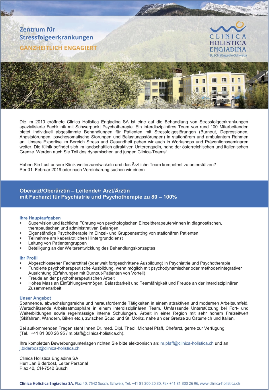Facharzt/-ärztin - Psychiatrie und Psychotherapie