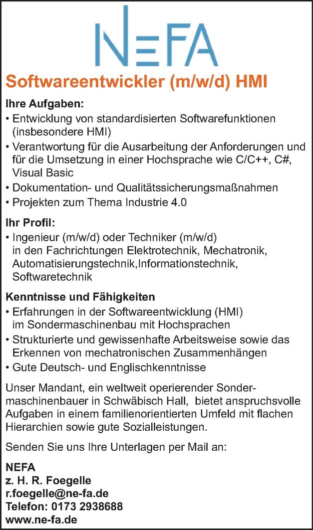 Softwareentwickler/in
