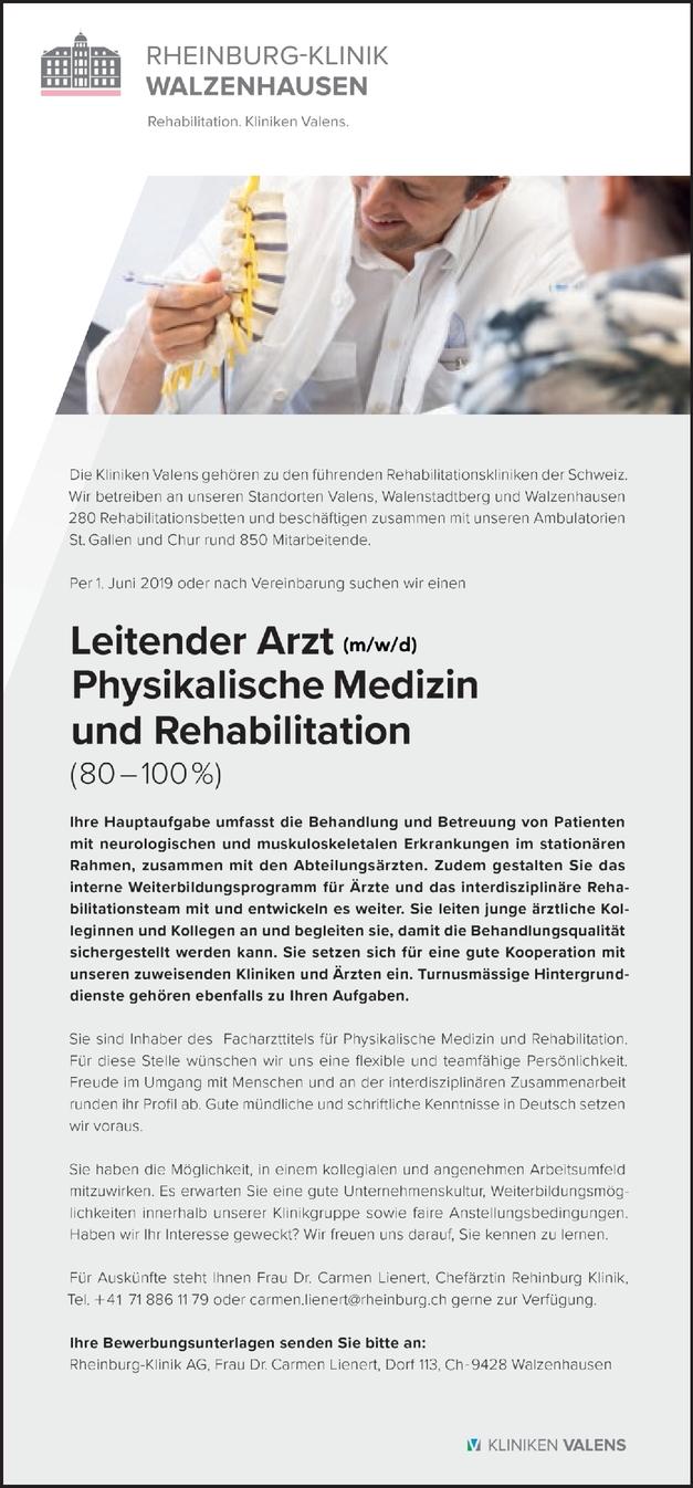 Facharzt/-ärztin - Physikalische/Rehabilitative Medizin