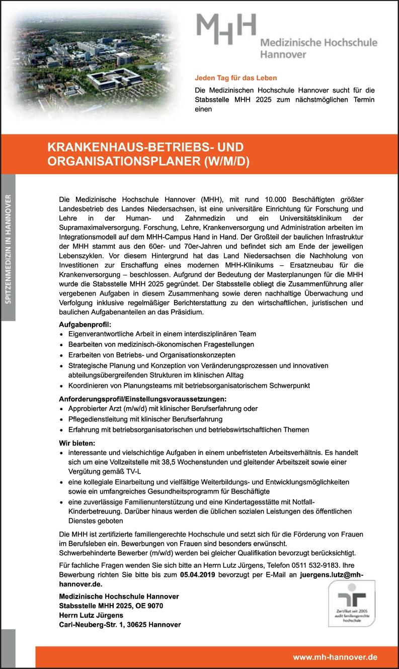 Krankenhaus-Betriebs- und Organisationsplaner (w/m/d)