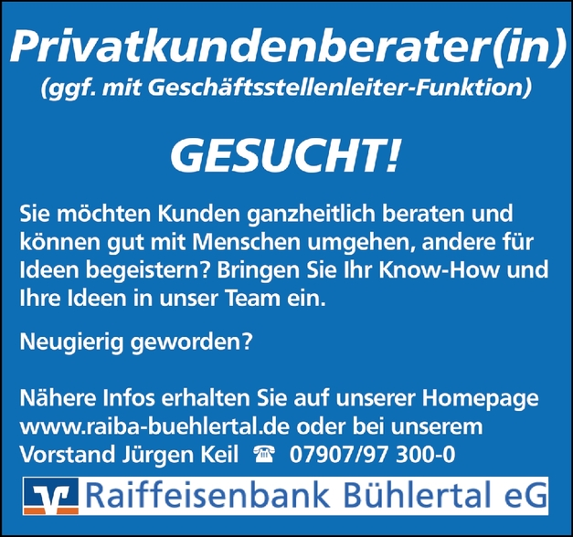 Privatkundenberater/in (Bank)