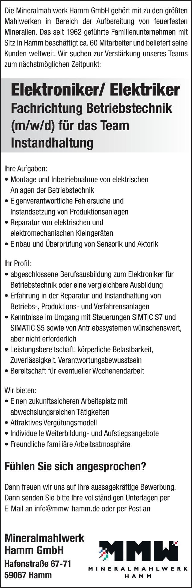Elektriker/in Betriebstechnik