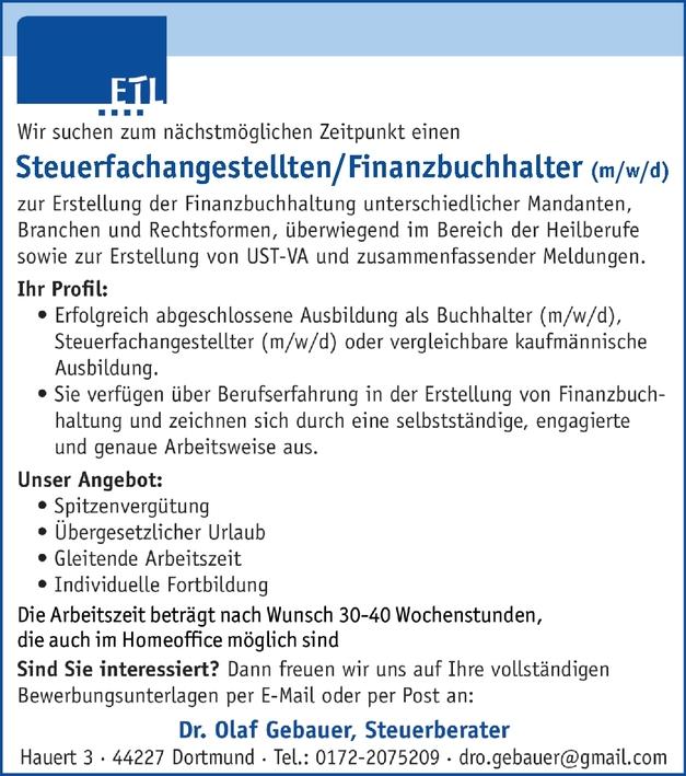 Steuerfachangestellte/r, Finanzbuchhalter/in