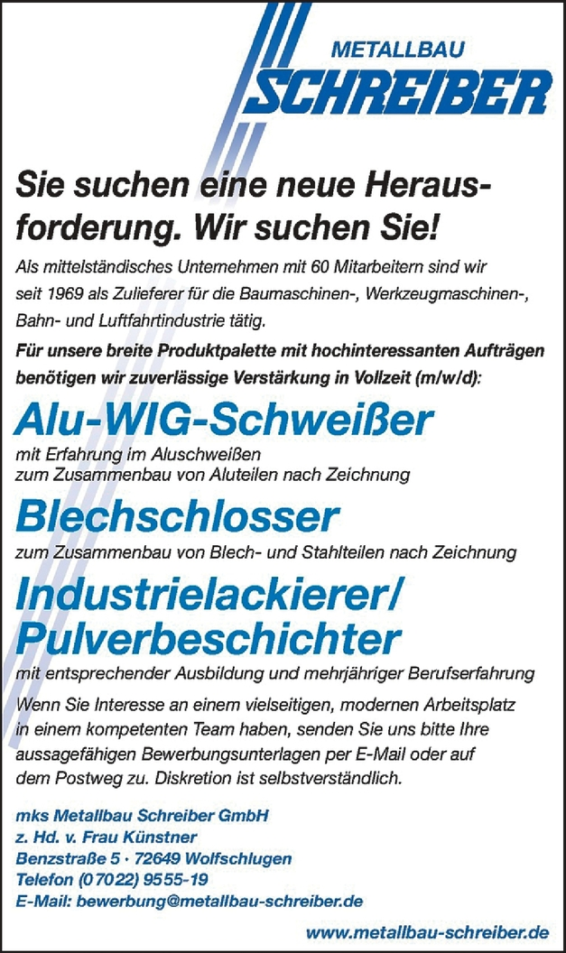 Schlossermeister/in (Bauschlosserei/Metallbau)