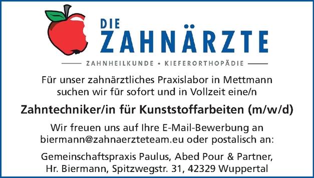 Zahntechniker/in für Kunststoffarbeiten (m/w/d)