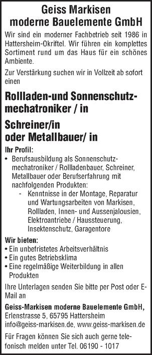 Rollladen- und Sonnenschutzmechatroniker/in
