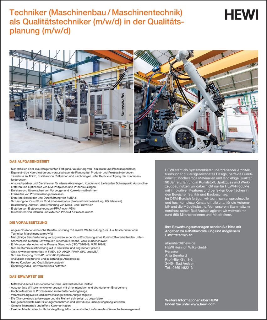 Maschinenbautechniker/in in Bad Arolsen