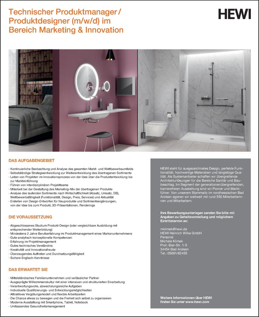 Techn. Produktdesigner/in in Bad Arolsen