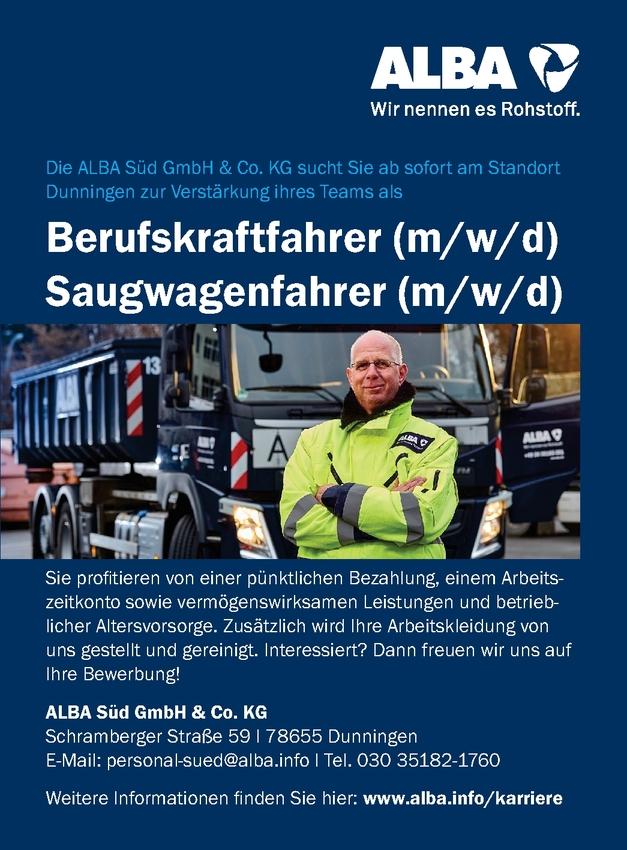 Saugwagenfahrer/in