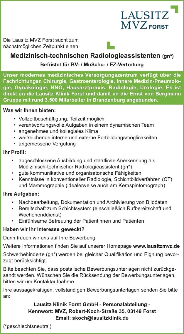 Medizinisch-technischen Radiologieassistenten m/w/d
