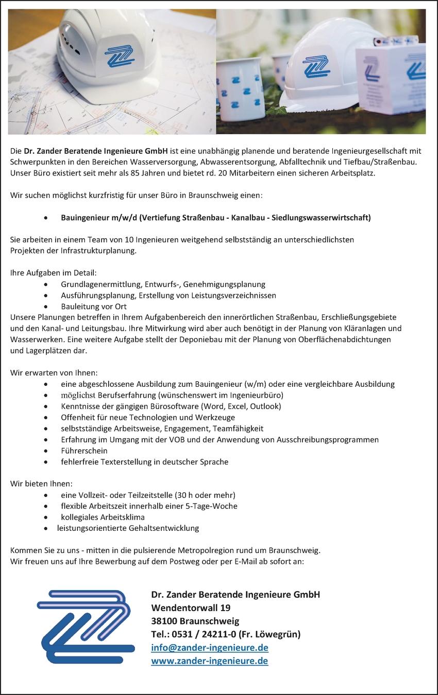 Bauingenieur/in - Tiefbau